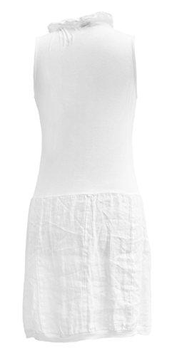 Womens Lagenlook italien volants sans manches col volant V cou tunique lin Midi robe de dames Blanc