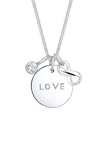 Elli Damen-Kette mit Anhänger Infinity, Wordings, Love-Schriftzug 925 Silber Kristall weiß Rundschliff 45 cm - 0112880916_45