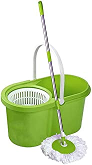 Home Line Plastic Cleaning Bucket Mop by Pratap (Green)