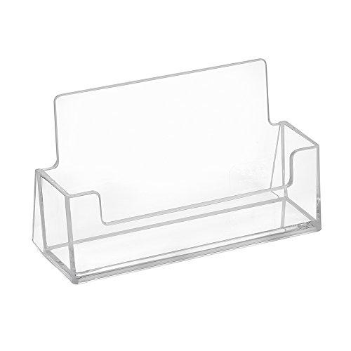 10 Stück Visitenkartenständer im Querformat - Zeigis® / Visitenkartenhalter/Transparent / Tisch/Freistehend / Tischaufsteller/Tischständer