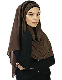 145c9b92f17 Hijab à enfiler entiérement cousu pour femme musulmane voilée châle  islamique voile enfilable