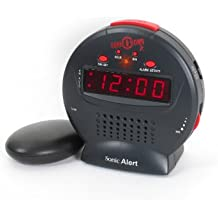Sonic Alert Sonic Bomb Junior - Reloj despertador (sonido extra alto, incluye almohadilla vibratoria)