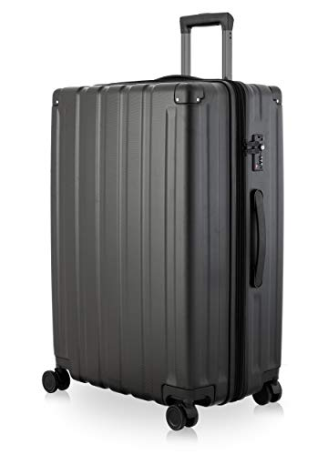 Happy Trolley - Dubai DXB Hartschalen-Koffer Koffer Trolley Rollkoffer Reisekoffer, sehr leicht + stabil, TSA, 76 cm, 113 Liter, Schwarz