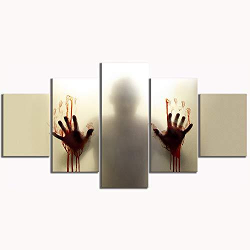 MXSNOW 5 Leinwanddrucke Leinwandbilder Hd Gedruckt Poster Abstrakte Wohnkultur Halloween Hand Die Toten Film Malerei Wandbilder Kunst Drucke Auf Leinwand -