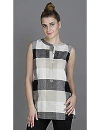 a78e141f60c4b8 Hoi Polloi Women s Linen Check Sleeveless Tunic - Black Beige