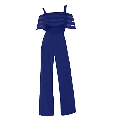 JUSHINI Jumpsuit Damen Sommer Elegant Damenmode Hohe Taille Mit Kalten Schultern Normallack-Weites Bein-Overall