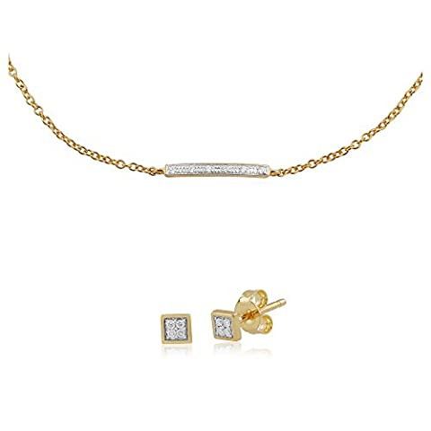 Gemondo gelb gold Nasenstecker Diamant Quadratisch Ohrstecker Ohrring und Nasenstecker Diamant 19cm Armband (0,03 Ct Diamant-set)
