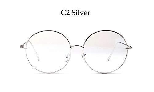 LAMAMAG Sonnenbrille Übergroße Klare Runde Brille Silber Metallrahmen Sexy Circle Brille Riesige Große Nerd Brille Frauen, 2