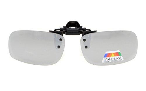 Eyekepper Flip-up-Clip-on Sonnenbrille Polarisiert 53x33 MM 2-Pack Metall Brille Clip Silber Spiegel