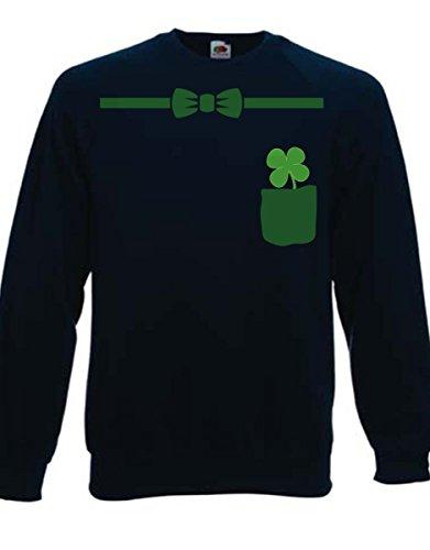 felpa girocollo blu scuro humor San Patrick's day, Irish, papillon - S M L XL XXL maglietta by tshirteria blu-scuro