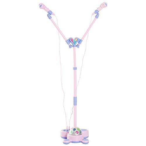 HOMCOM Double Standmikrofon Karaoke Kinder mit Musik Blinkleuchten Verstellbarer Rosa L27 x B27 x H90-105 cm