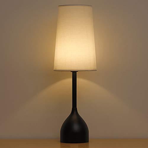 Lámparas de mesita de noche elegantes vintage con base redonda de metal, lámpara de mesa contemporánea...