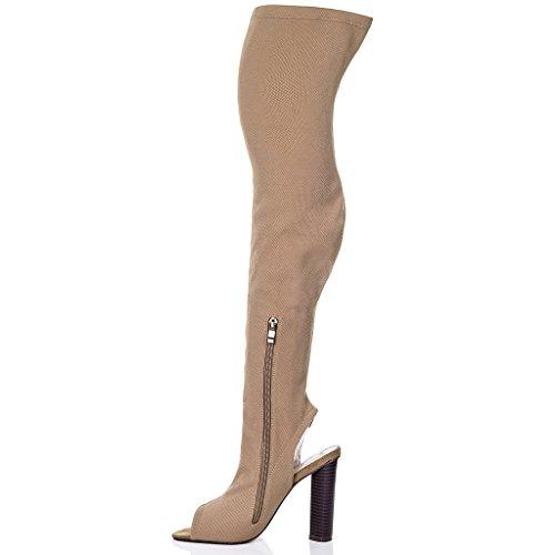 SPYLOVEBUY STRICK Damen Peep-Toe Blockabsatz Overknee Stiefel Beige - Synthetik