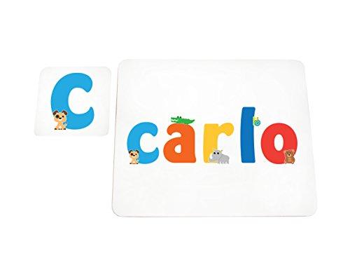 Little Helper lhv-carlo-coasterandplacemat-15it Untersetzer und Platzsets mit Poliert, Individuelle Jungen Namen Carlo, mehrfarbig, 21x 30x 2cm
