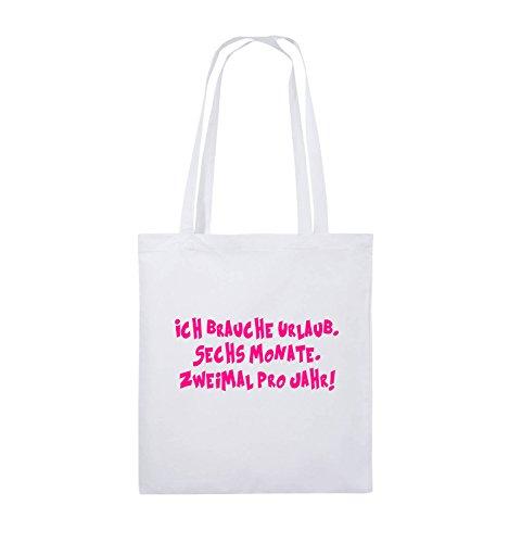 Comedy Bags - ICH BRAUCHE URLAUB - SECHS MONATE - Jutebeutel - lange Henkel - 38x42cm - Farbe: Schwarz / Silber Weiss / Pink