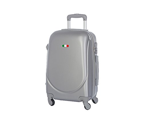 Trolley da cabina marca JUSTGLAM bagaglio a mano cm.50 valigia rigida 4 ruote in abs policarbonato antigraffio e impermeabile compatibile voli lowcost come Easyjet Rayanair / piccola argento