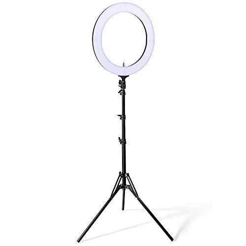 Houzetek 18 Zoll Äußere Ring Licht 448 LED Ringleuchte 85W 2700K-5500K Dimmbare Ringlicht mit Stativ für Kamera und Smartphone Video Make...