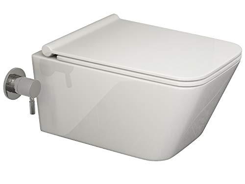 SSWW Eckiges Design Hänge-Dusch-WC CT2041V-C mit integrierter Bidet/Taharet-Funktion geschlossener Unterspülrand Lotus-Effekt manuelle Bedienung Softclose Wc-Sitz