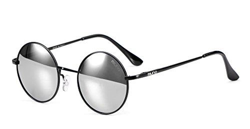 Miuno Sonnenbrille mit runden Gläsern UV400 Herren Damen mit Etui Nickelbrille Federscharnier 8088 (Gestell: mattschwarz/Glässer:silberverspiegelt)