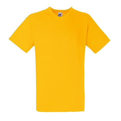 Fruit of the Loom Herren T-Shirt Valueweight V-Neck-Tee Sunflower