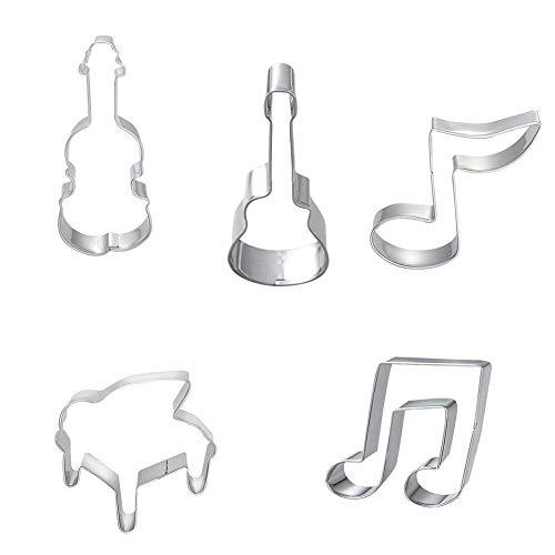 Naisicatar 5 Stücke Nota Musical Geige Gitarre Ausstecher Keksausstecher Kuchen DIY Biscuit Käse Mold, Silber Eine Größe