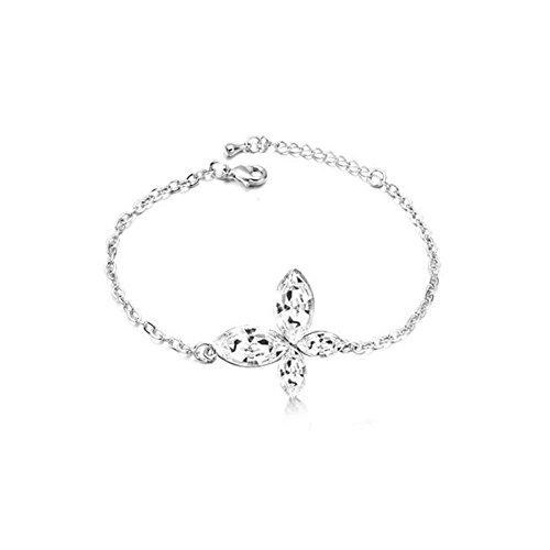 Bracelet papillon cristal swarovski elements plaqué or blanc Blanc