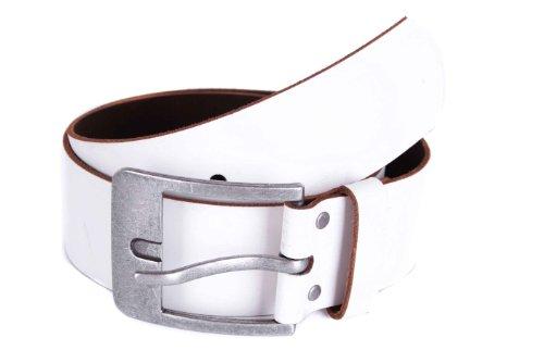 Jack & Jones Gürtel 100% Echtleder Jeansgürtel viele Modelle und Farben (85, Weiß (1))