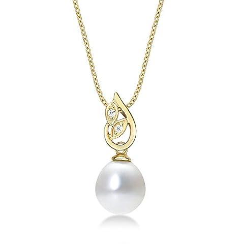 Pearl Drop Anhänger Halskette mit Single 8–8,5mm Süßwasserperle Weiß und Weiß schimmernde Zirkonia Steinen Set in luxuriöser 9K Gelb Gold