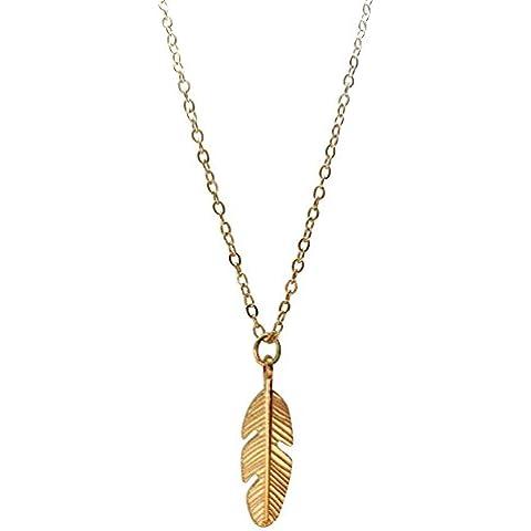 collana di piume tono oro - Piuma E Collana