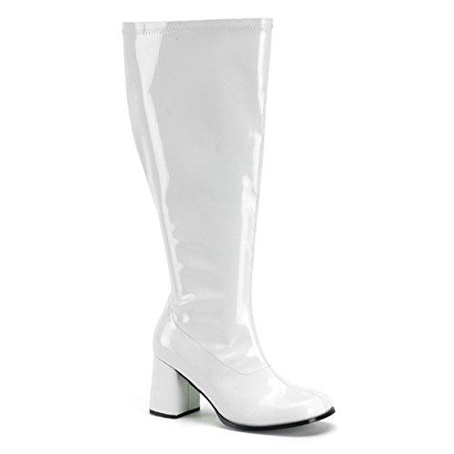 Karneval Fasching Halloween Kostüm Schuhe, Größe:EU-38 / US-8 / UK-5 (Weiße Gogo-stiefel Größe 5)