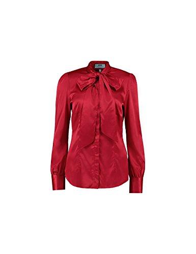 Hawes & Curtis Damen Ladies Tailliert Schleifenkragen Langarm Elegant Formal Bluse Satin Bluse 14 Rot (Shirt Manschette Französisch Red)