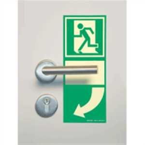 Hinterlegung Türgriff langnachleuchtend linksweisend HIGHLIGHT PVC selbstklebend ausgerüstet Format: 25 x 10cm Leuchtdichte: HIGHLIGHT 48 mcd/m²