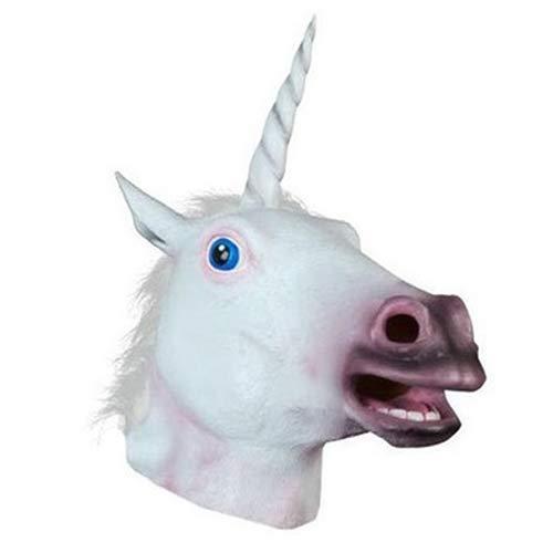 (QETU Halloween Pferd Einhorn Latex Maske, Deluxe Neuheit Kostüm Party Latex Tier Maske Maske)
