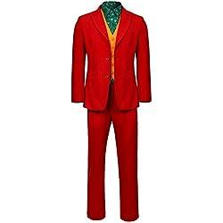 WSCOLL 2019 Joker Origin Movie Cosplay Joaquin Phoenix Arthur Fleck Disfraz Batman The Joker Uniform Red Suit Halloween Men Outfit M Todo el Conjunto