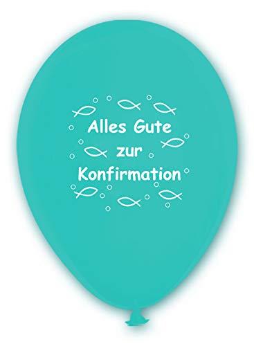 BWS - Verkauf durch luftballonwelt 10 Luftballons Alles Gute zur Konfirmation, TÜRKIS, ca. 30 cm Durchmesser