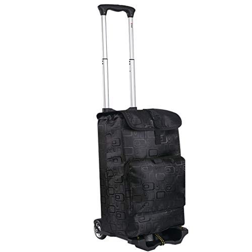 Floral Einkaufstrolleys Faltender Handwagen, Gepäck-Einkaufslaufkatzen-Karren mit ausdehnbarem Griff Flexibelem Bungee für das Bewegen der schweren Einzelteile Einkaufstrolleys (Color : B) -