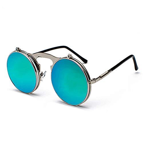 LELESunglasses Flip Sonnenbrille Retro Metal Steampunk Flip Runde Sonnenbrille Männer Und Frauen Modelle Hipster Brille Ultraleicht (Farbe : H)