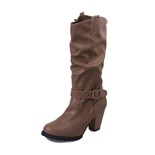 672e43252cfb36 Chaussures femmes, Yogogo Femmes Automne hiver Milieu Bottes rétro Talon  chunky Bout rond Bottes Vintage