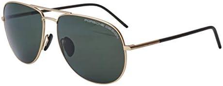 Porsche Design Aviator Sunglasses Gold with Polarized Dark Green P8629 B
