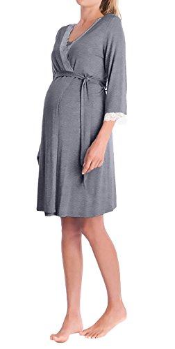 Vestaglia premaman elegante v scollo manica 3/4 pizzo cucitura gravidanza ragazze giovane camicia da notte accappatoio pigiama con cintura (color : grigio, size : s)