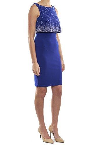 Joseph Ribkoff Sapphire Blue Dress With Jewel Overlay Style 173026