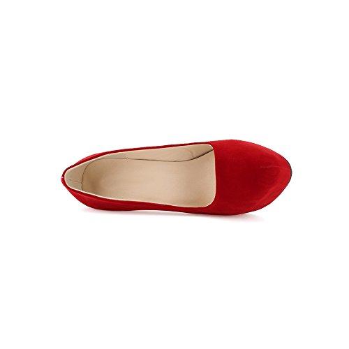 OCHENTA Femme Escarpins En Velvet Talon Haut Aiguille Plateforme Epais Marcher Confortable Chaussure Soiree Mariage Rouge