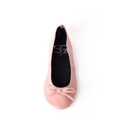 Scarpe ballerina piegabille con nastro opaco disponibile in molti colori e tagli fino 41 con una borsa in raso Rosa