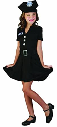 Children's Girls Police Lady Fancy Dress Costume - Age 4 -13 Years (message Size)