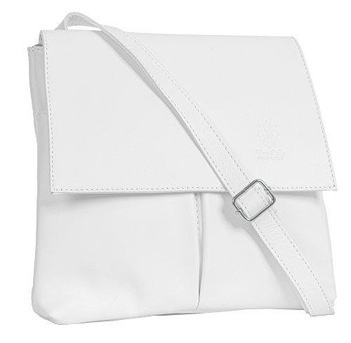 BHBS Damen überqueren Sie Körper Tasche Mit Echtem Weichem Leder 27 x 24.5 cm (B x H) Weiß