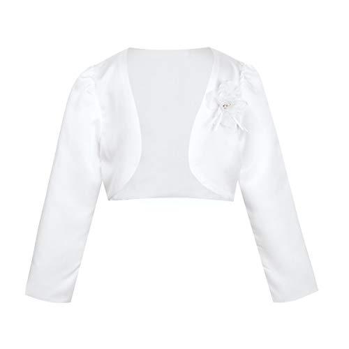 iEFiEL Kinder Bolero Schulterjacke Jäckchen Mädchen Bolero Jacke Festlich - Langarm Weiß/Rosa/Beige/Ivory Weiß 122-128 (Herstellergröße: 140)