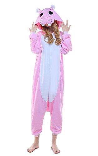 Canasour Polar Fleece Brown Sloth Women's Unisex Pajamas (M, Pink Hippo)