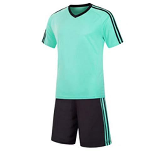 Inlefen Football Training Suit Fußballtrikot kurzärmliges Fußballtraining Fußballbekleidung Set EIN Fußballtrikot und EIN kurzes Jugend Set hellgrün -XL