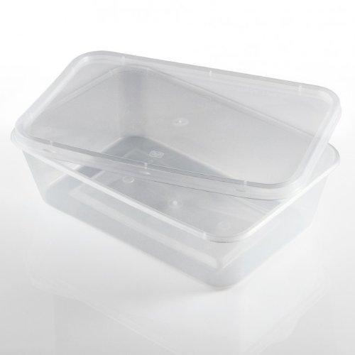 Salida Thali – 50 x Rectangular 650 ml microondas recipientes de comida de plástico transparente de congelación caliente tomar alimentos fríos
