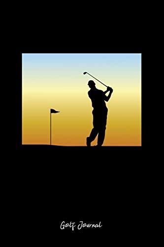 Golf Journal: Lined Journal - Golfer Silhouette Golf Flag Golf Player Gift - Black Ruled Diary, Prayer, Gratitude, Writing, Travel, Notebook For Men Women -